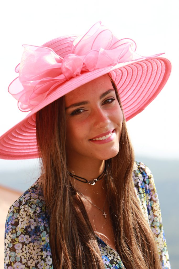 Ladies Pink Events hat with Brown Hair | Hats with Real Hair