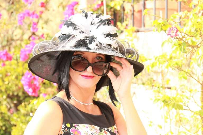 Black and White Event hat with long black hair | Hats with Real Hair