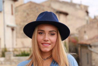 Blue Trilby with 2 colour highlighted blonde hair in shades 7/18