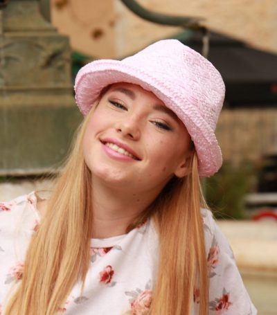 Childs pink straw trilby hat with highlighted 2 colour hair in shades 7/18