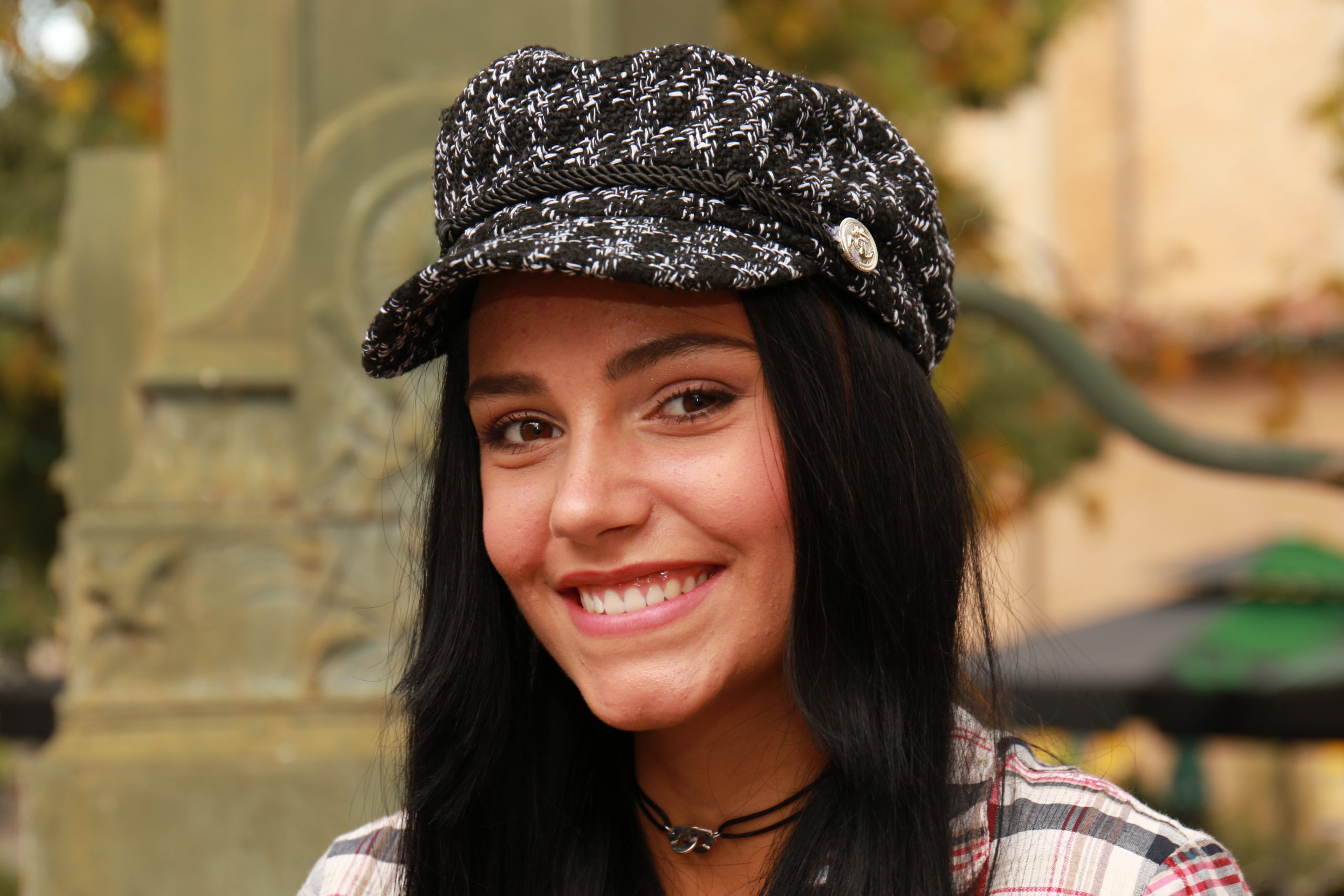 Black and White Baker Boy hat with long black hair in shade No 1 london