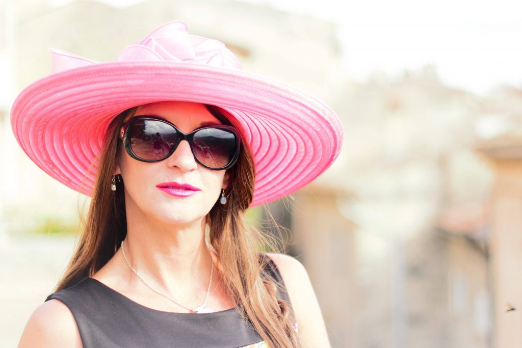 Rose Pink Flowered Event Hat with Brown Shade 3
