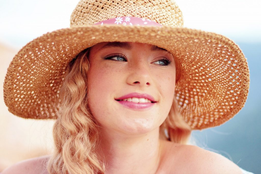 Childs natural straw hat with blonde hair | Hats with Real Hair