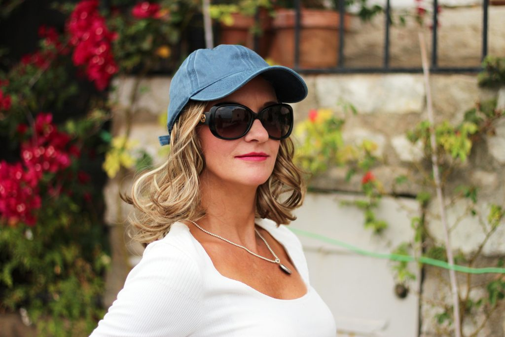 Stone Washed Blue Baseball Cap with 2 colour highlighted brown and blonde hair in shade 6/22