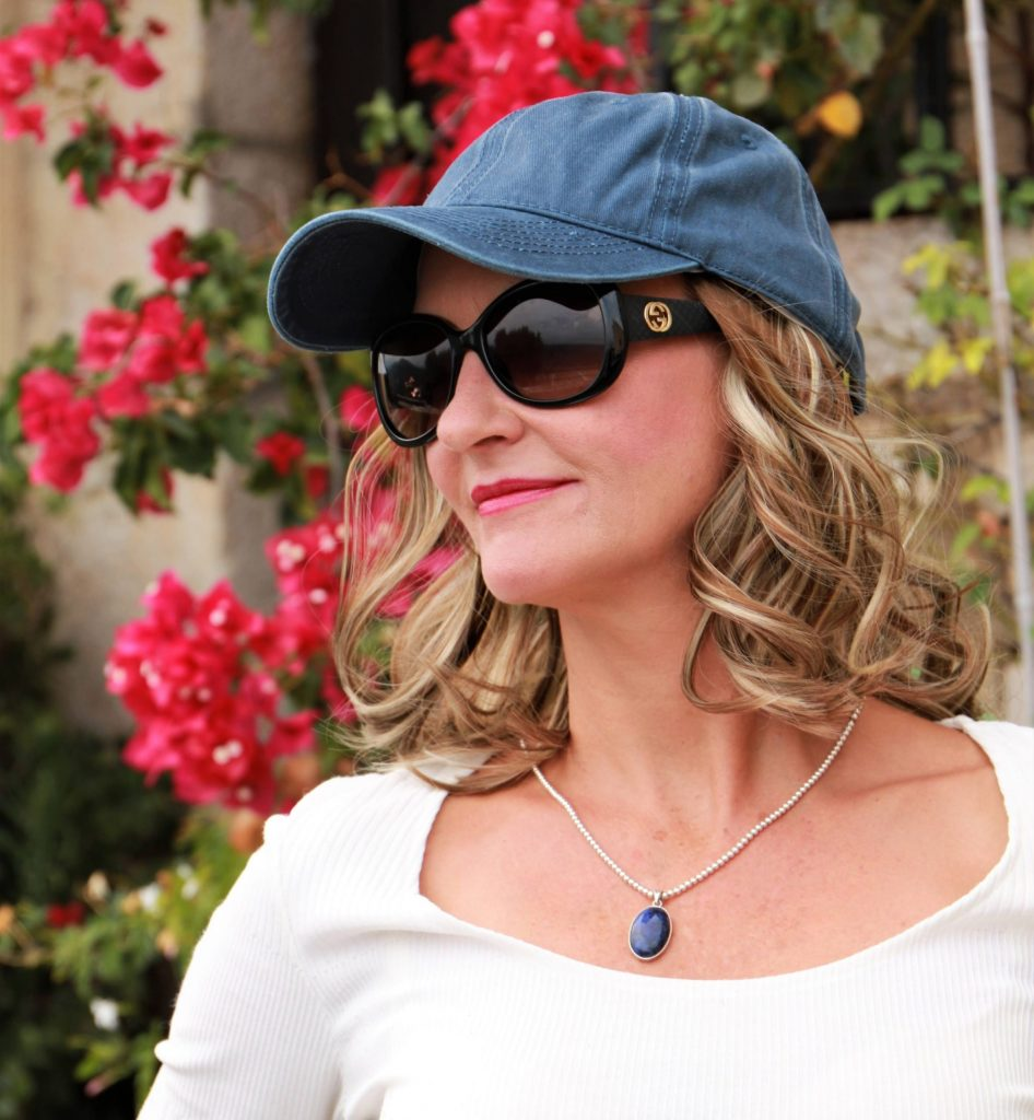 Stone washed blue baseball cap with 2 colour highlighted brown and blonde hair | Hats with Real Hair