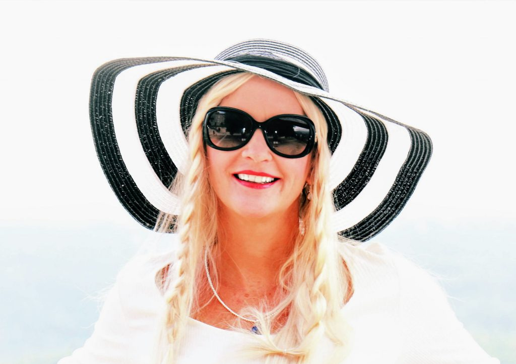 Black and White Sun hat with Blonde Highlighted No 16/60